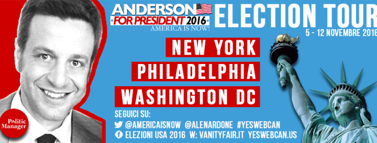 Parte l'Election Tour: Alex Anderson a New York, Philadelphia e Washington